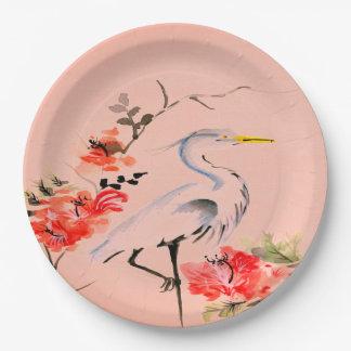 Prato De Papel Rosa asiático   do pêssego da flor do guindaste da