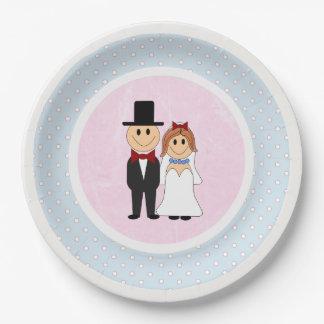 Prato De Papel Rosa, & casamento azul dos noivos das bolinhas