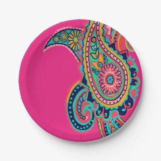 Prato De Papel Rosa de arco-íris brilhante Paisley