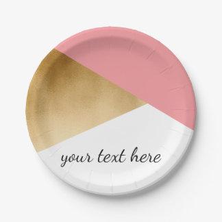Prato De Papel rosa moderno do ouro do falso do pintinho elegante