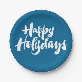 Prato De Papel Rotulação azul de Holydays dos feriados felizes