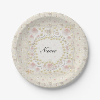 Prato De Papel Seashells e pérolas personalizados