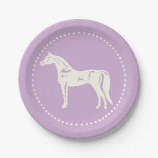 Prato De Papel Silhueta árabe do cavalo