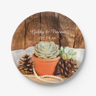 Prato De Papel Succulents rústicos e casamento de madeira do