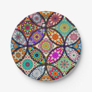 Prato De Papel Teste padrão criativo da arte dos círculos das