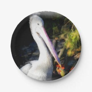 Prato De Papel Um pássaro branco e seu bico grande