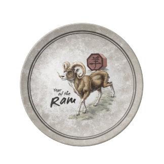 Prato De Porcelana Ano chinês do zodíaco da arte da ram