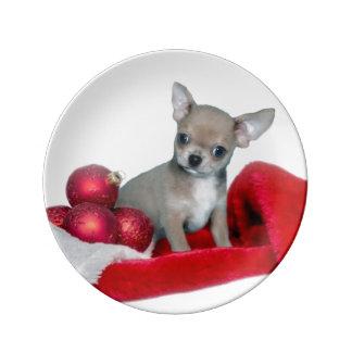 Prato De Porcelana Cão da chihuahua do Natal