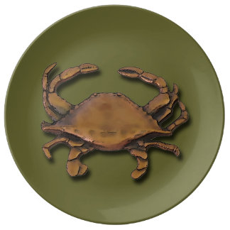 Prato De Porcelana Caranguejo de cobre