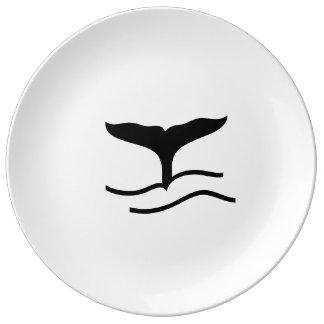 Prato De Porcelana Cauda da baleia