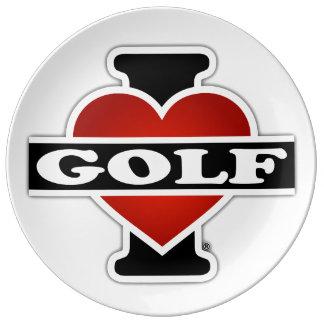 Prato De Porcelana Eu amo o golfe