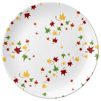 Prato De Porcelana Folhas da queda: Placa decorativa da porcelana