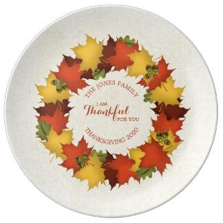 Prato De Porcelana Grinalda da acção de graças das folhas de outono