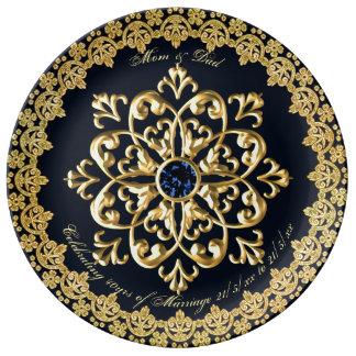 Prato De Porcelana O aniversário de casamento Parents o ouro do azul