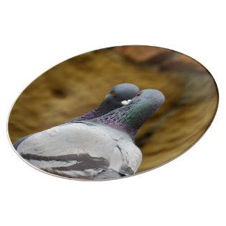 Prato De Porcelana O destino do destino romântico dos pássaros do