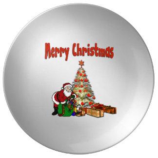 Prato De Porcelana Papai noel com os brinquedos sob a árvore de Natal