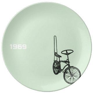 Prato De Porcelana Placa 1969 da porcelana da bicicleta 4 do