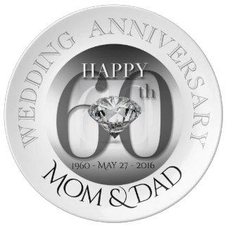 Prato De Porcelana Placa da porcelana do aniversário de casamento do