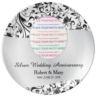 Prato De Porcelana Redemoinho preto & aniversário de casamento da