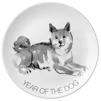 Prato De Porcelana Shiba Inu que pinta a placa de coletor do ano de 2