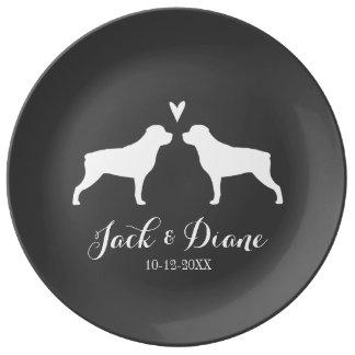 Prato De Porcelana Silhuetas de Rottweiler com coração e texto