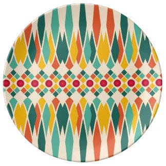 Prato De Porcelana Teste padrão geométrico colorido com polígono