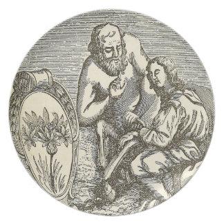 Prato Desenho do Hypnotism com espelho