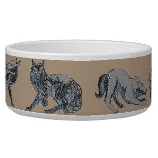 Prato do cão do teste padrão do lobo tijela para comida de cachorros