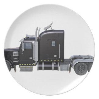 Prato Do preto reboque de tractor semi no perfil lateral