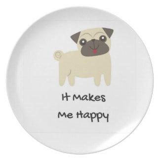 Prato Faz-me o Pug feliz