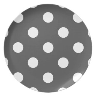 Prato Grandes bolinhas - branco na obscuridade - cinzas