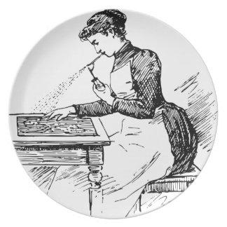 Prato Mulher que usa o Airbrush velho