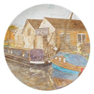 Prato Narrowboat e jarda dos construtores do barco