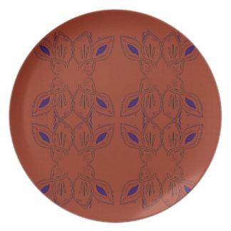 Prato Ornamento pintados mão de Brown