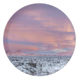 Prato Paisagem nevado do campo de lava, Islândia