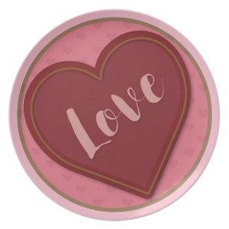 Prato Placa da melamina do amor dos namorados