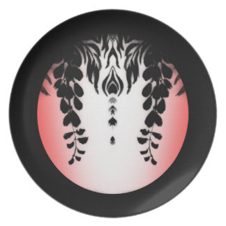 Prato Placa floral das glicínias brancas pretas