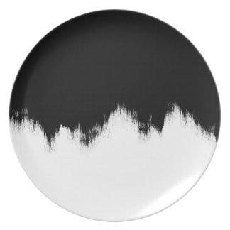 Prato Placa preto e branco da melamina da pintura