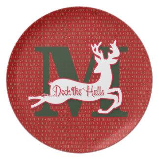 Prato Plataforma os salões na rena vermelha e verde