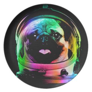 Prato Pug do astronauta - pug da galáxia - espaço do pug