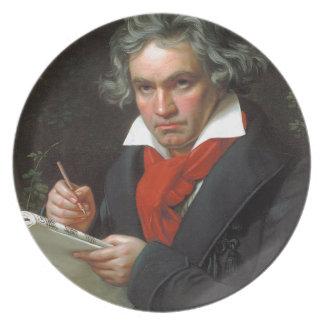 Prato Retrato do vintage do compositor, Ludwig von
