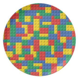 Prato Teste padrão colorido do fundo dos blocos de