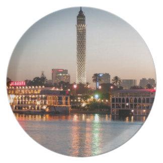 Prato Torre no crepúsculo, o Cairo do EL Borg, Egipto