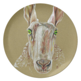 Prato Um retrato de um carneiro