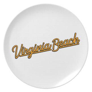 Prato Virginia Beach de néon assina dentro a laranja