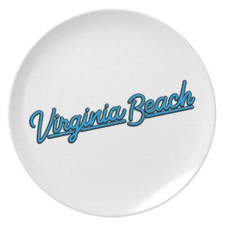 Prato Virginia Beach de néon assina dentro ciano