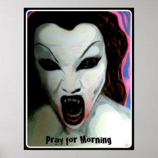 """""""Pray para a manhã"""" em um impressão do poster"""