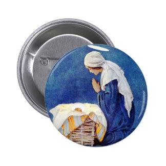 Praying de Mary e bebê Jesus Bóton Redondo 5.08cm