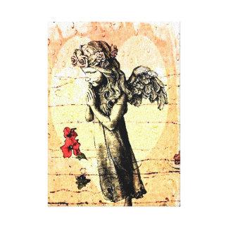 Praying e coração do anjo impressão em tela