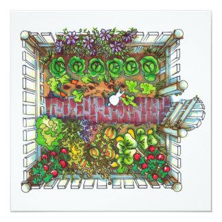 Prazer do jardim convite quadrado 13.35 x 13.35cm